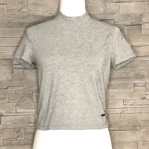Titika cropped grey mock-neck top